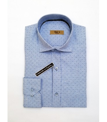 Camisa -  - Camisa juvenil azul estampada en lunares. What do you want to do? New mail Copy.